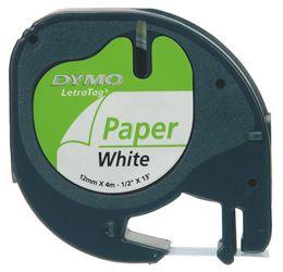 DYMO S0721520 LetraTag Schrifband Papier, 12mm x 4m, schwarz auf weiss