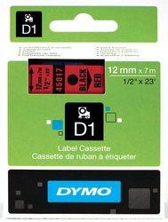 DYMO S0720570 LabelManager Schriftband, D1, 12mm x 7m, schwarz auf rot