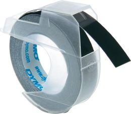 DYMO S0898130 3D-Prägeband Plastik,  9mm x 3m, glänzend schwarz